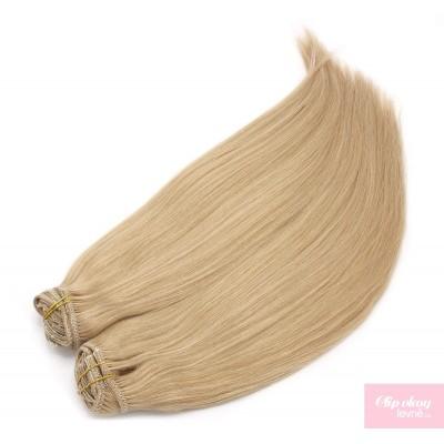 Clip in maxi set 63cm pravé lidské vlasy – REMY 240g – PŘÍRODNÍ BLOND
