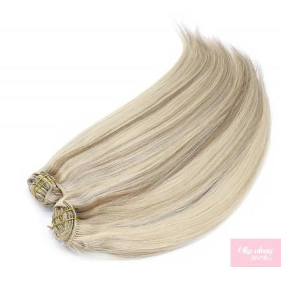 Clip in maxi set 63cm pravé lidské vlasy – REMY 240g – PLATINA/SVĚTLE HNĚDÁ