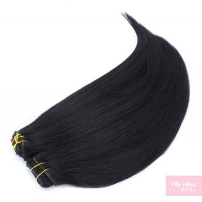 Clip in maxi set 73cm pravé lidské vlasy – REMY 280g - ČERNÁ