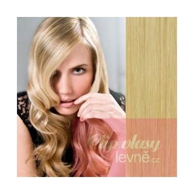 Clip in vlasy 43cm 100% lidské - REMY 70g – přírodní blond