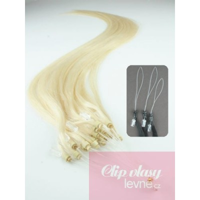 Vlasy pro metodu Micro Ring / Easy Loop / Easy Ring / Micro Loop 60cm – platinová blond
