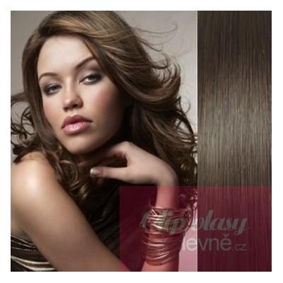 Clip in vlasy 53cm 100% lidské – REMY 100g – TMAVĚ HNĚDÁ