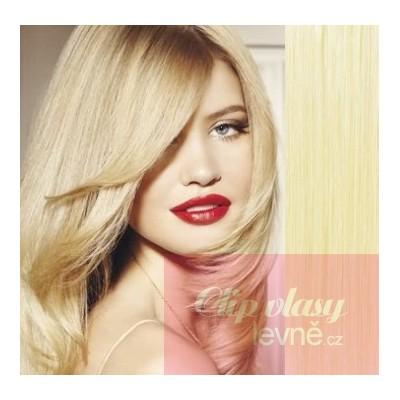 Vlasy pro metodu Pu Extension / TapeX / Tape Hair / Tape IN 60cm - nejsvětlejší blond