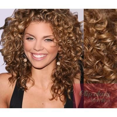 Clip in kudrnaté vlasy 100% lidské REMY 53cm - světle hnědá