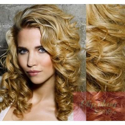 Clip in kudrnaté vlasy 100% lidské REMY 53cm - přírodní blond