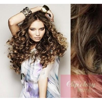 Clip in kudrnaté vlasy 100% lidské REMY 53cm - tmavý melír