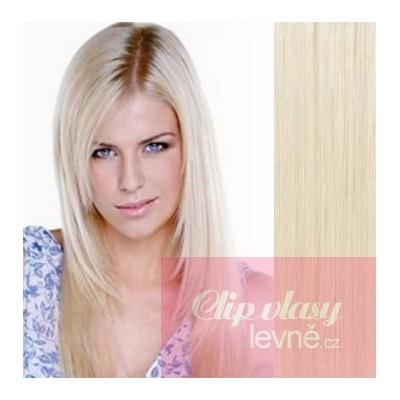 Clip in vlasy 53cm 100% lidské – REMY 100g – PLATINA