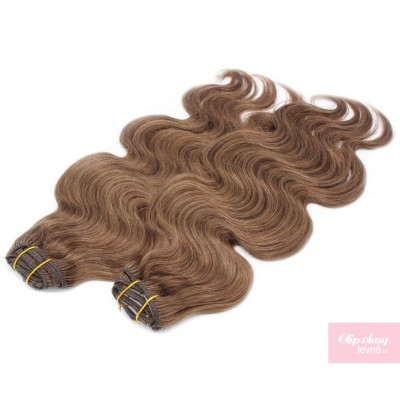 Vlnitý clip in maxi set 53cm pravé lidské vlasy – REMY 200g - STŘEDNĚ HNĚDÁ