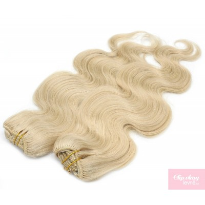 Vlnitý clip in maxi set 53cm pravé lidské vlasy – REMY 200g - NEJSVĚTLEJŠÍ BLOND