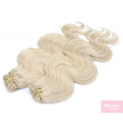 Vlnitý clip in maxi set 53cm pravé lidské vlasy – REMY 200g - PLATINA