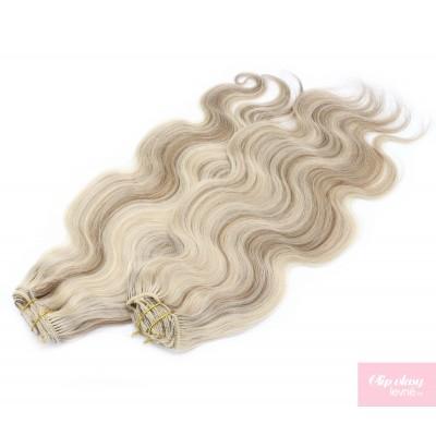 Vlnitý clip in maxi set 53cm pravé lidské vlasy – REMY 200g - PLATINA/SVĚTLE HNĚDÁ
