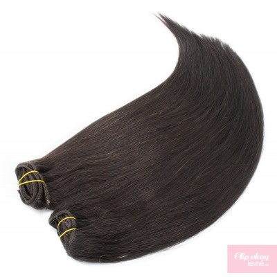 Clip in maxi set 43cm pravé lidské vlasy - REMY 140g - přírodní černá