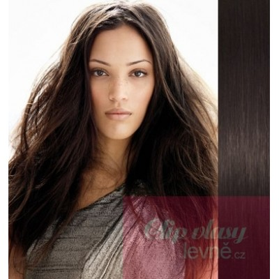 Clip in vlasy 63cm 100% lidské – REMY 120g – PŘÍRODNÍ ČERNÁ