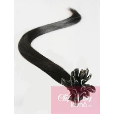 Vlasy evropského typu k prodlužování keratinem 50cm - přírodní černá