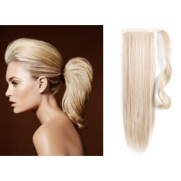 Clip in příčesek culík/cop 100% lidské vlasy 50cm - platina