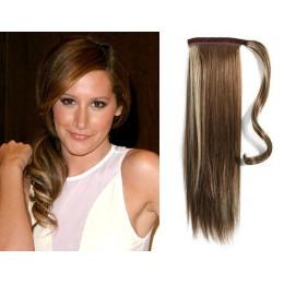 Clip in příčesek culík/cop 100% lidské vlasy 50cm - tmavý melír