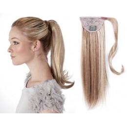 Clip in příčesek culík/cop 100% lidské vlasy 50cm - platina/světle hnědá