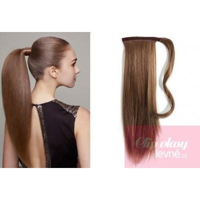 Clip in příčesek culík cop 100% lidské vlasy 60cm - středně hnědý 6f863ffeaf