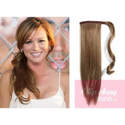 Clip in příčesek culík cop 100% lidské vlasy 60cm - světle hnědý 00d2eb4461