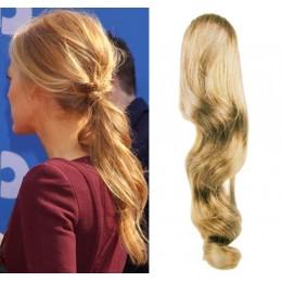 Clip in vlnitý příčesek/culík/cop 100% lidské vlasy 50cm - přírodní blond