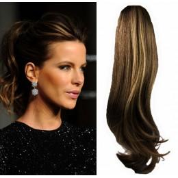 Clip in vlnitý příčesek/culík/cop 100% lidské vlasy 50cm - tmavý melír