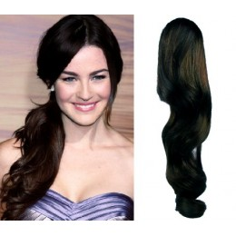 Clip in příčesek culík/cop 100% lidské vlasy 60cm vlnitý - přírodní černá