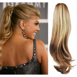 Clip in příčesek culík/cop 100% lidské vlasy 60cm vlnitý - přírodní/světlejší blond