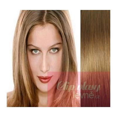 Clip in vlasy 63cm 100% lidské – REMY 120g – SVĚTLE HNĚDÁ