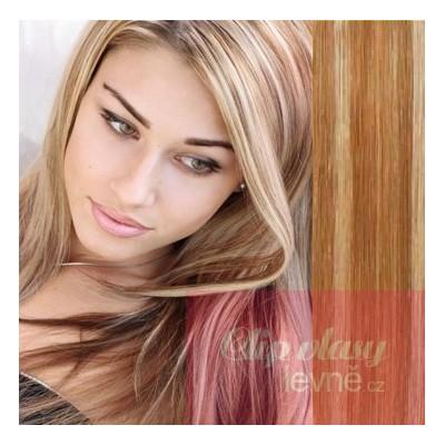 Clip in vlasy 63cm 100% lidské – REMY 120g – SVĚTLÝ MELÍR