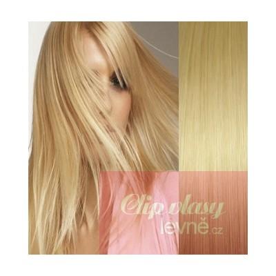 Clip in vlasy 53cm 100% lidské – REMY 100g – SVĚTLEJŠÍ BLOND