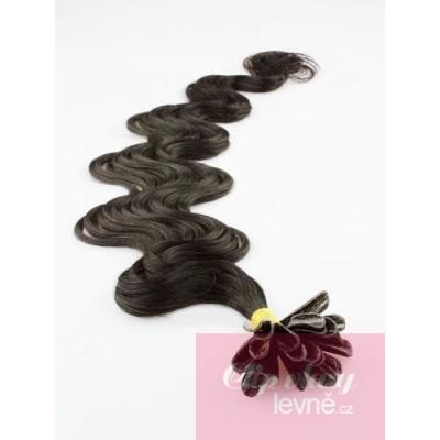 Vlnité vlasy k prodlužování keratinem 50cm - přírodní černé