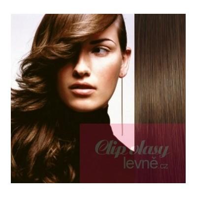 Clip in vlasy 73cm 100% lidské – REMY 140g – STŘEDNĚ HNĚDÁ