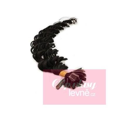Kudrnaté vlasy k prodlužování keratinem 50cm - černé