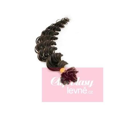 Kudrnaté vlasy k prodlužování keratinem 50cm - přírodní černé