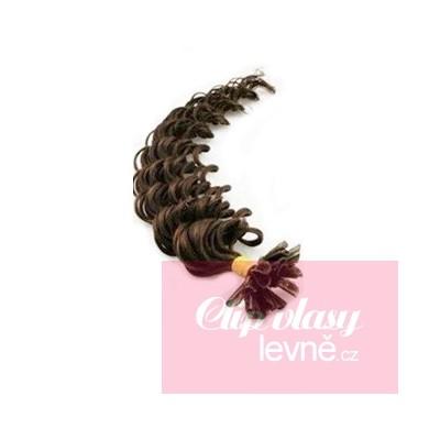 Kudrnaté vlasy k prodlužování keratinem 50cm - tmavě hnědé