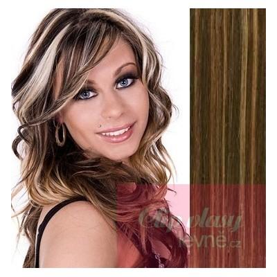 Clip in vlasy 73cm 100% lidské – REMY 140g – TMAVÝ MELÍR