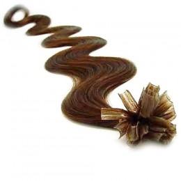 Vlnité vlasy k prodlužování keratinem 60cm - světlejší hnědé