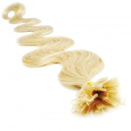 Vlnité vlasy k prodlužování keratinem 60cm - nejsvětlejší blond