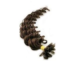 Kudrnaté vlasy k prodlužování keratinem 60cm - tmavě hnědé