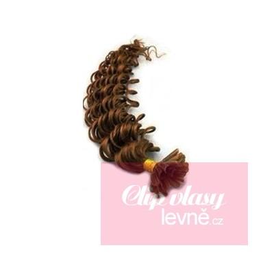 Kudrnaté vlasy k prodlužování keratinem 60cm - světlejší hnědé