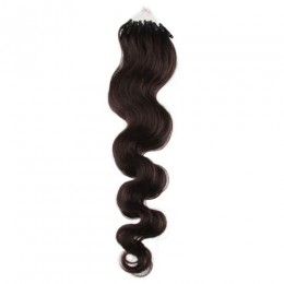 Vlnité vlasy pro metodu Micro Ring / Easy Loop 50cm – přírodní černé