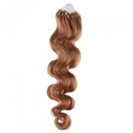 Vlnité vlasy pro metodu Micro Ring / Easy Loop 50cm – světle hnědé