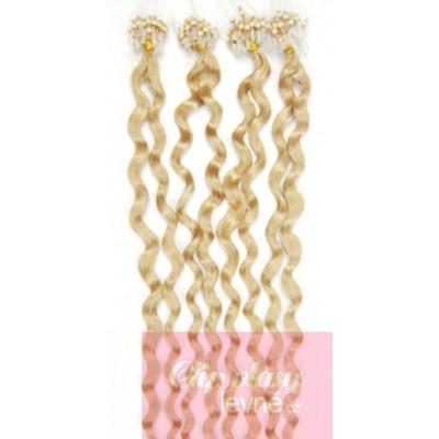 Kudrnaté vlasy pro metodu Micro Ring / Easy Loop 50cm – nejsvětlejší blond