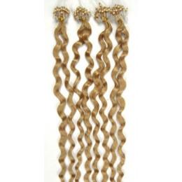 Kudrnaté vlasy pro metodu Micro Ring / Easy Loop 60cm – přírodní blond