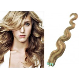 Vlnité vlasy pro metodu TapeX / Tape Hair / Tape IN 50cm - světlý melír