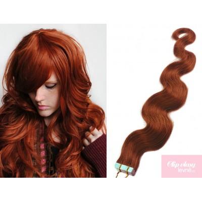 Vlnité vlasy pro metodu TapeX / Tape Hair / Tape IN 50cm - měděná