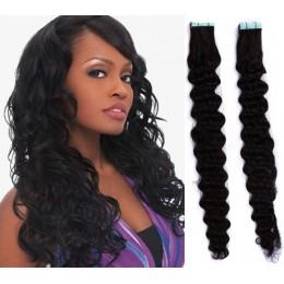 Kudrnaté vlasy pro metodu TapeX / Tape Hair / Tape IN 50cm - černé