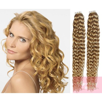 Kudrnaté vlasy pro metodu TapeX / Tape Hair / Tape IN 50cm - přírodní blond