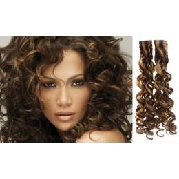 Kudrnaté vlasy pro metodu TapeX / Tape Hair / Tape IN 50cm - tmavý melír