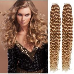 Kudrnaté vlasy pro metodu TapeX / Tape Hair / Tape IN 50cm - přírodní / světlejší blond